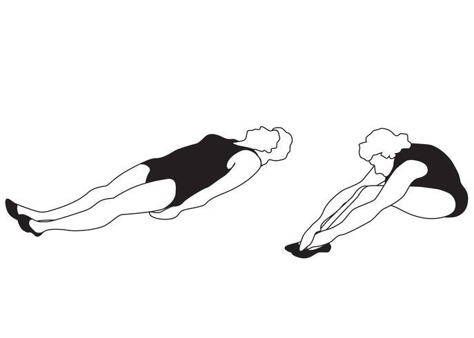 Eleganta kvinnor silhuetter gör träningsövningar. Fitness club icon set, vektor