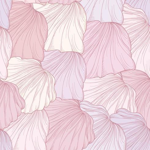 Floral nahtlose Muster, gravierte Blütenblätter. Flourish Textur vektor