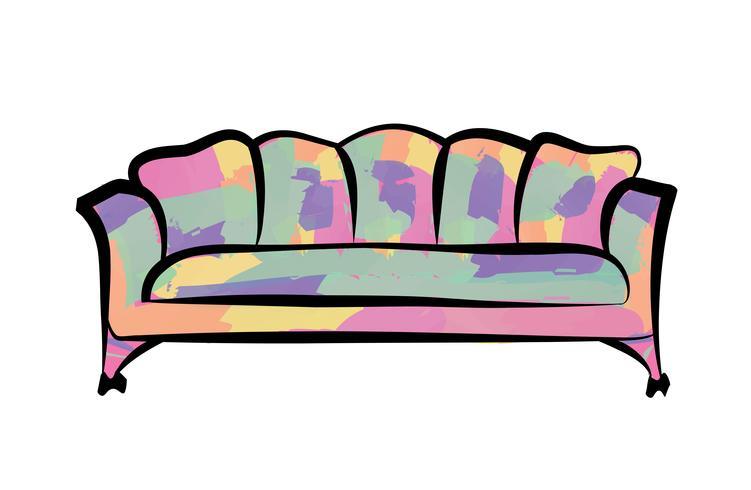 Sofa Möbel Zeichen. Ausführliche Couchinnenillustration. vektor