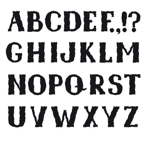 Latinska alfabetet. Grunge linje dekorativa teckensnitt. Teckenuppsättning vektor