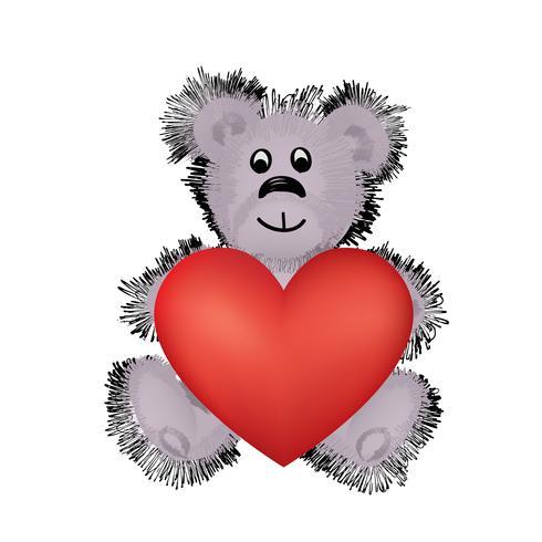 Teddybjörn leksak med stort rött hjärta i händerna. Jag älskar dig valentinkort vektor