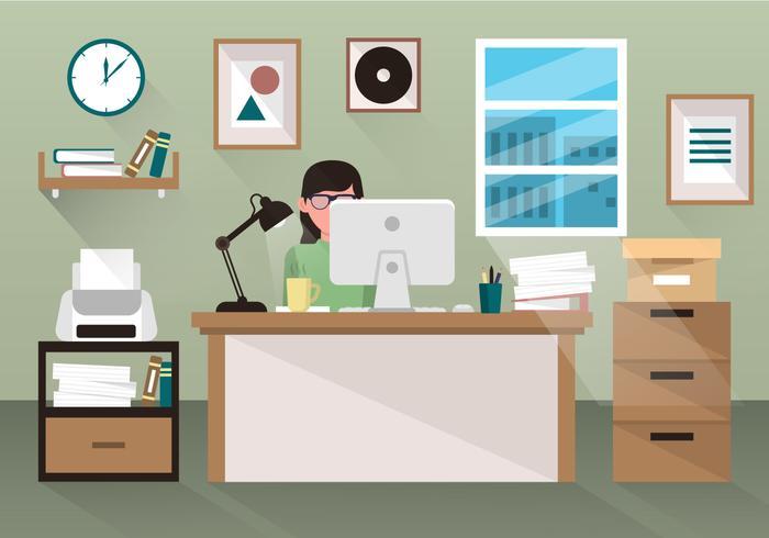Person som arbetar vid skrivbordet på kontoret vektor