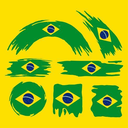 Brush Brasil Flag Clipart Set vektor