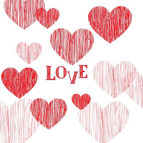 Glad hjärtans dag hälsningskort. Kärlek hjärta bakgrund vektor