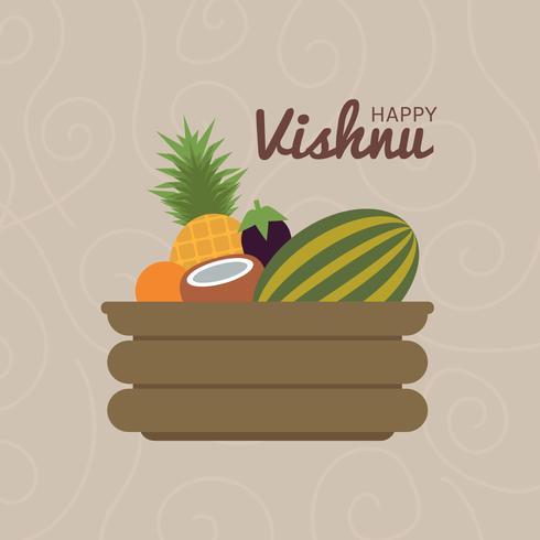platt frukt glad vishu vektor