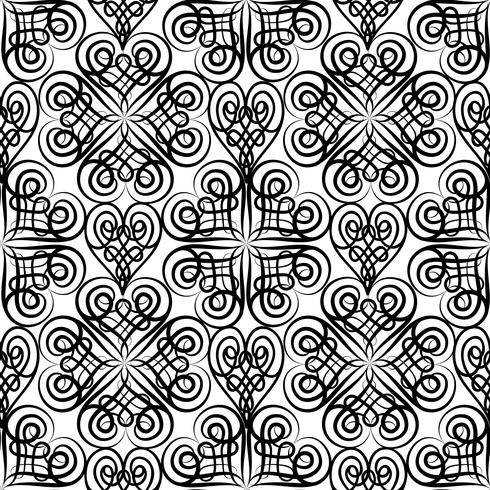 Abstrakt keltisk blommig sömlös mönster. Line orientalisk prydnad vektor