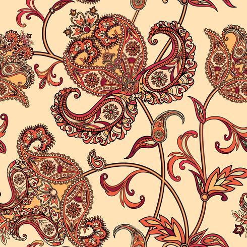 Floral sömlös bakgrund. Orientalisk prydnad. Blommönster. vektor