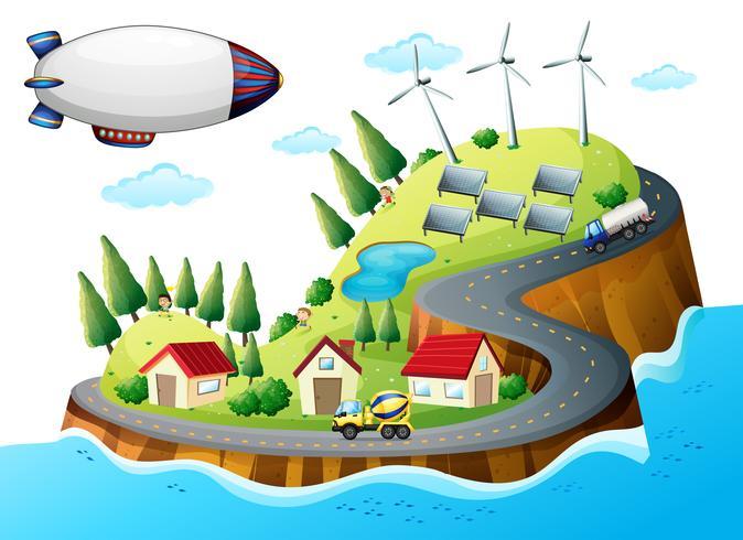 En by med väderkvarnar och ett rymdskepp vektor