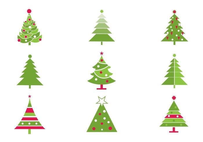 Stiliserad julgran vektorpaket vektor