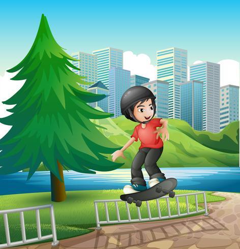 Ein Junge, der nahe dem Flussufer Skateboard fährt vektor