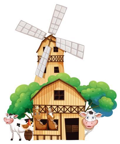 En ladugård på gården med djur vektor