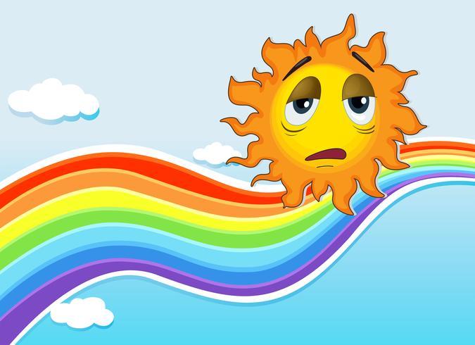 Eine traurige Sonne in der Nähe des Regenbogens vektor