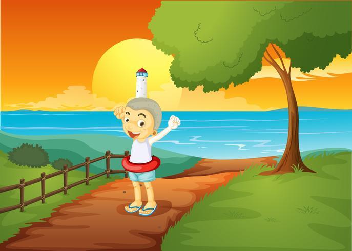 Ein Junge steht über dem Leuchtturm vektor