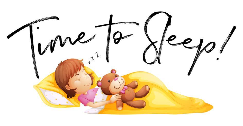 Frasetid att sova med liten tjej i sängen vektor