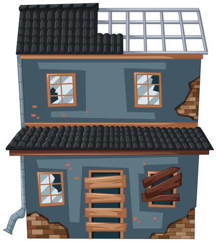 Gammalt hus med trasigt tak och fönster vektor
