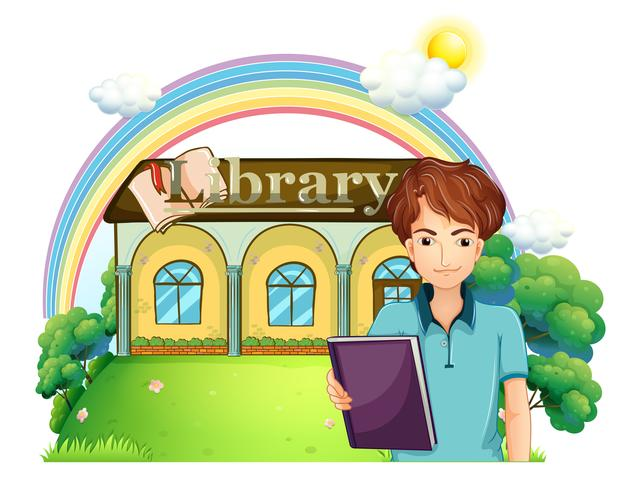 En pojke som håller en bok som står framför biblioteket vektor