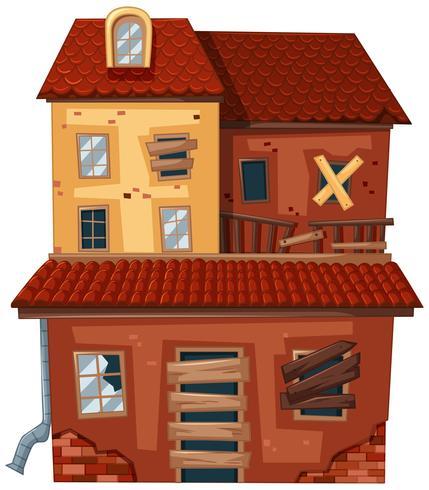 Gamla hus med röda tegelstenar vektor