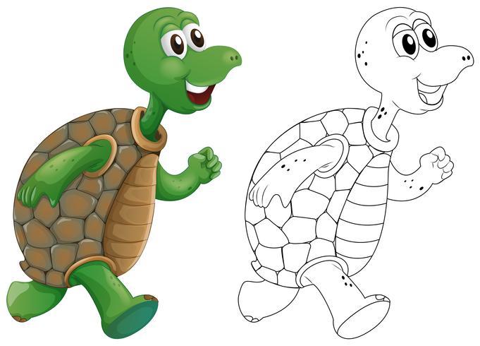 Tierumriss für das Laufen der Schildkröte vektor