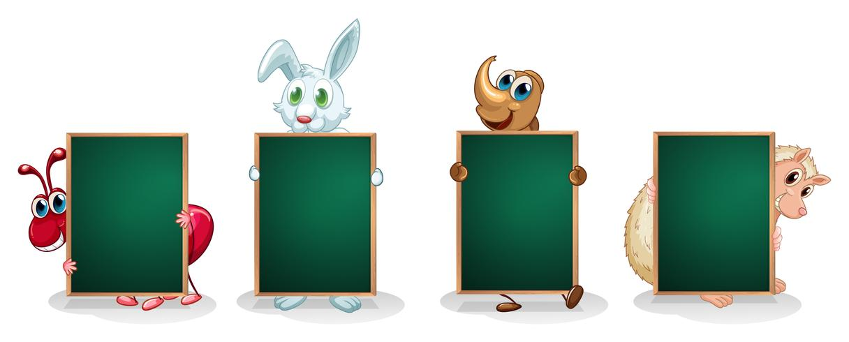 Vier verschiedene Tierarten mit leeren Brettern vektor