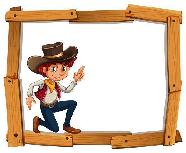 Rahmenvorlage mit Cowboy vektor