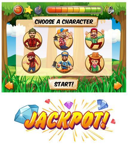 Slot-Spielvorlage mit Holzfäller-Charakteren vektor