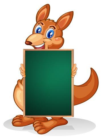 Ein Känguru, der eine leere Tafel hält vektor