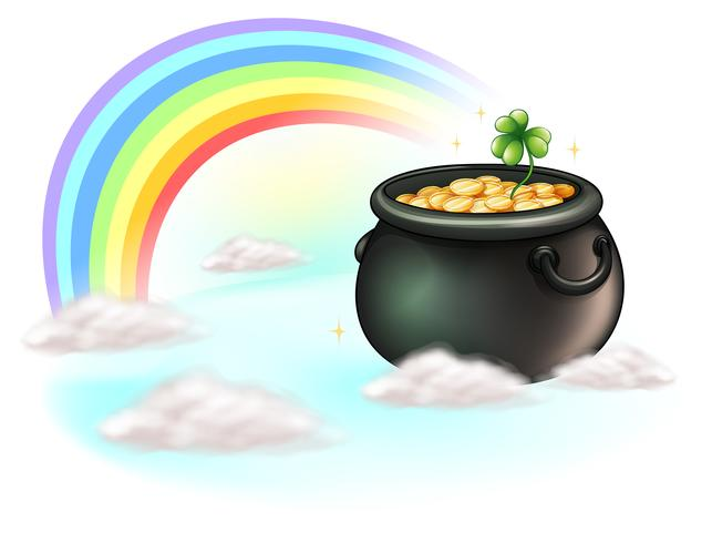Die goldenen Münzen und der Regenbogen vektor