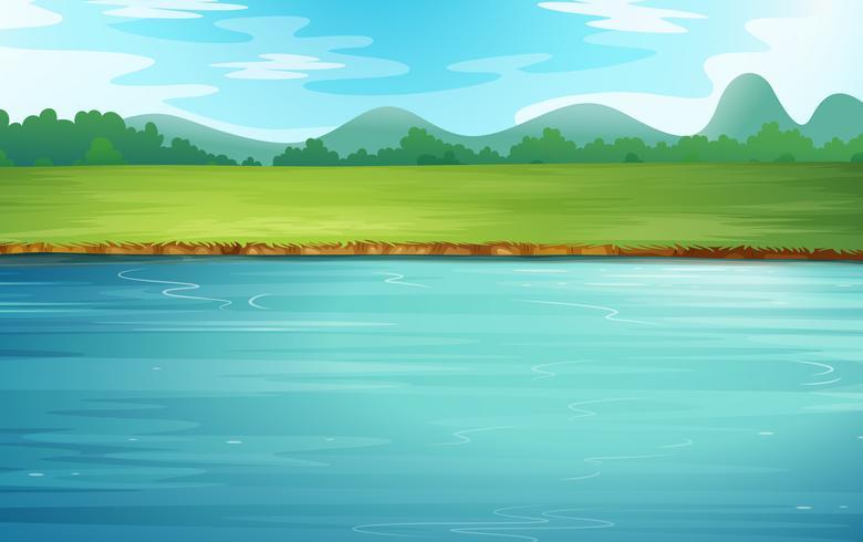 Ein Fluss und eine wunderschöne Landschaft vektor