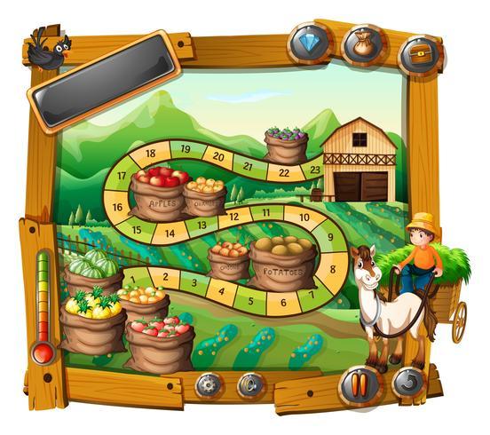 Spielschablone mit Landwirt und Erntehintergrund vektor