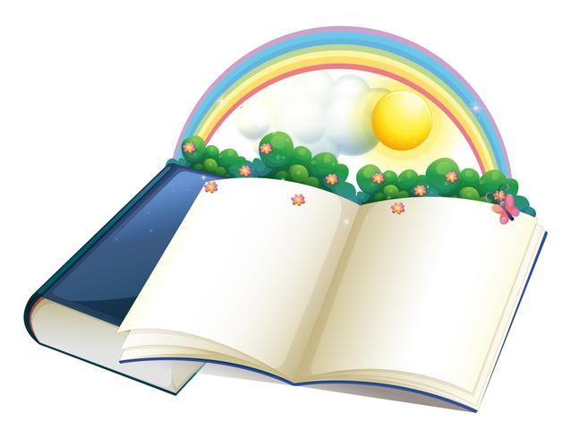 Ein Bilderbuch mit Regenbogen und Pflanzen vektor