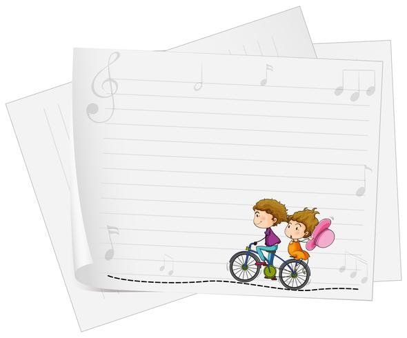 Papierdesign mit Liebespaaren auf Fahrrad vektor