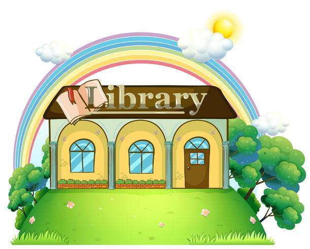 Eine Bibliothek auf dem Hügel vektor