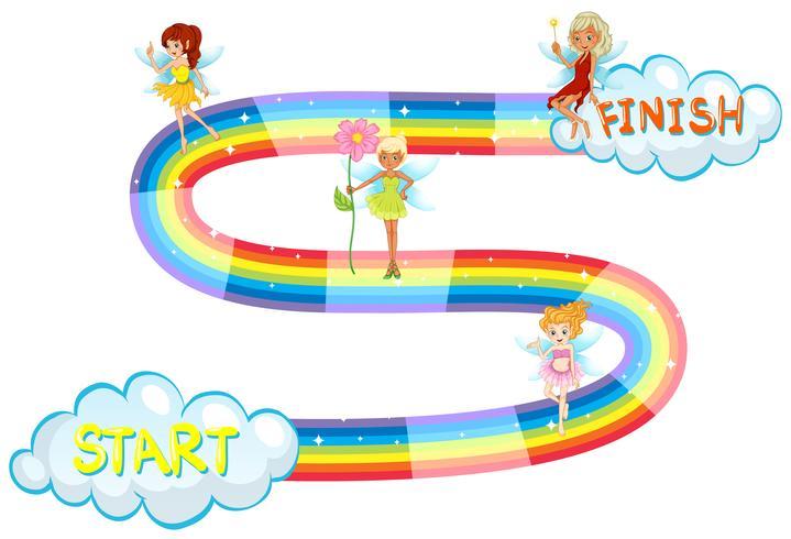 Spielschablone mit den Feen, die auf Regenbogen fliegen vektor