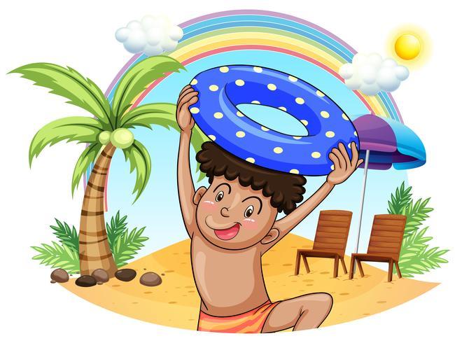 Ein kleiner Junge am Strand genießen vektor