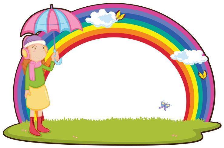 Mädchen und Regenbogen vektor