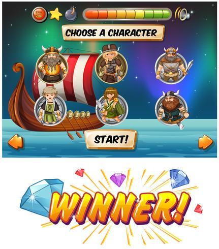 Slot-Game-Vorlage mit Wikinger-Figuren vektor