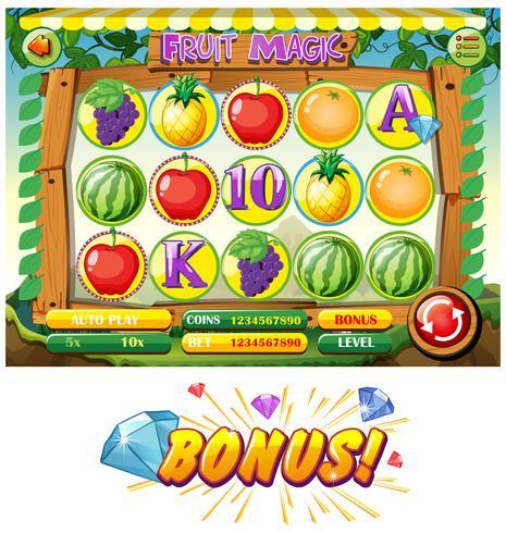 Spielschablone mit Früchten vektor