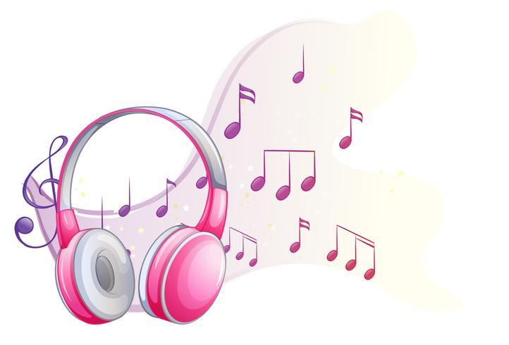 Rosafarbener Kopfhörer mit Musikanmerkungen im Hintergrund vektor