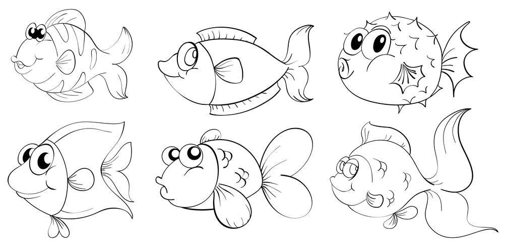 Silhouetten von Fischen vektor