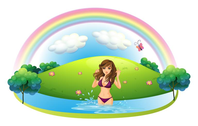 Eine sexy Dame im Bikini am Strand vektor