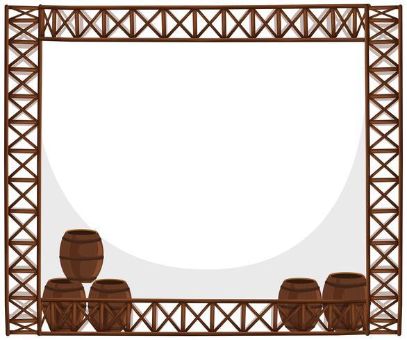 Rahmendesign mit Holzfässern vektor