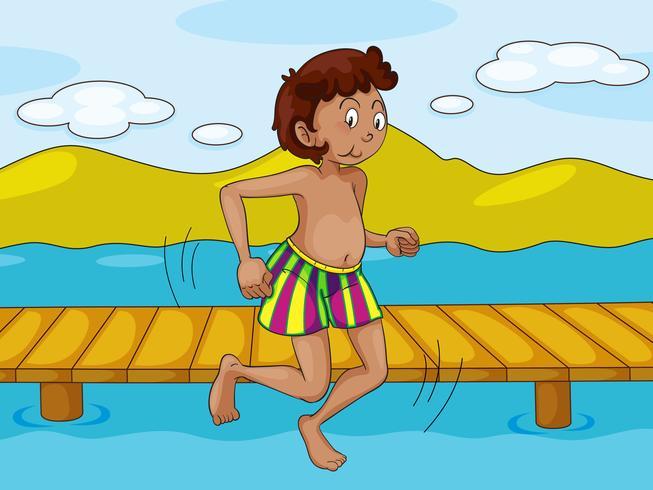 ein Junge und Wasser vektor