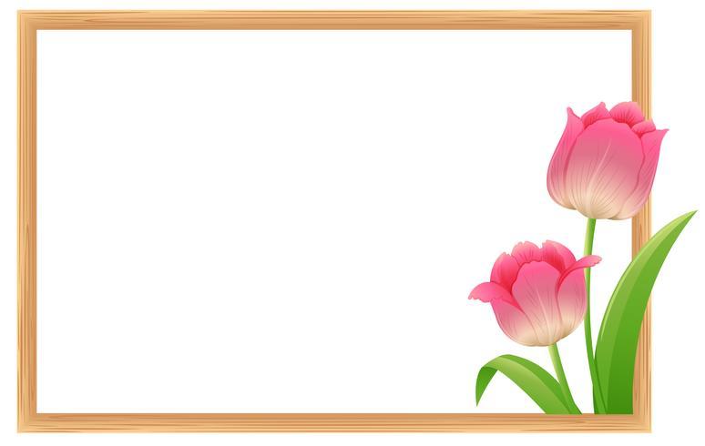 Gränsmall med rosa tulpanblommor vektor