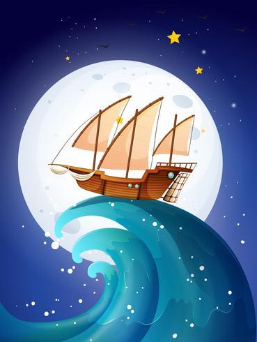 Ein Schiff über den Riesenwellen vektor