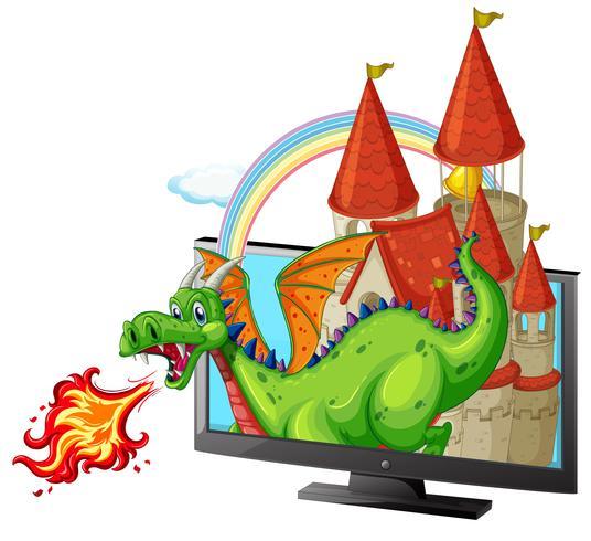 Schloss und Drache auf dem Bildschirm vektor