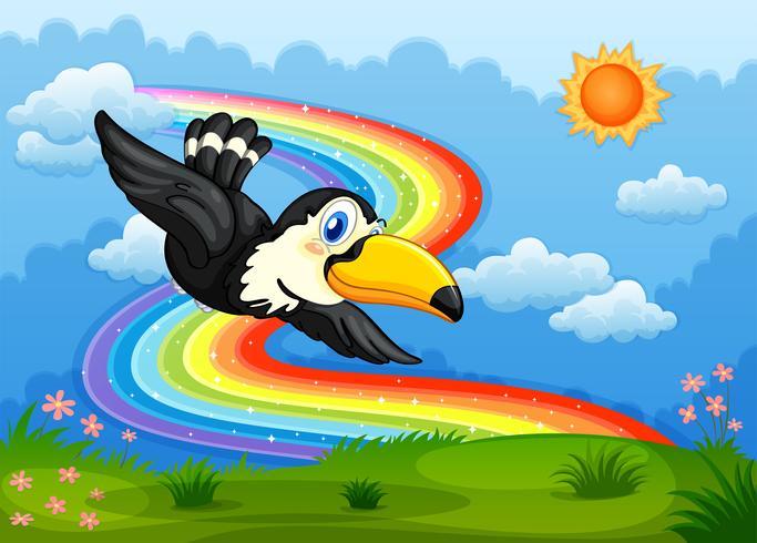 En fågel i himlen med en regnbåge vektor