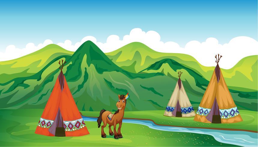 Zelte und ein lächelndes Pferd vektor