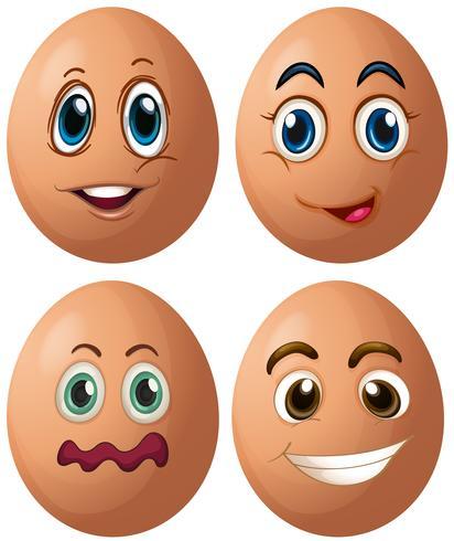 Eier mit vier verschiedenen Gesichtsausdrücken vektor