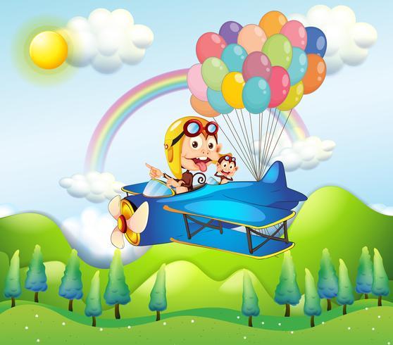 Zwei Affen, die in ein Flugzeug mit bunten Ballonen reiten vektor