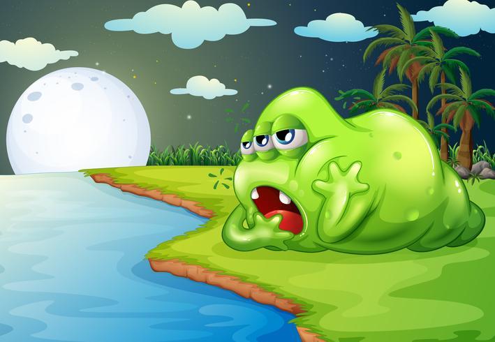 Ein verschlafenes Monster am Flussufer vektor